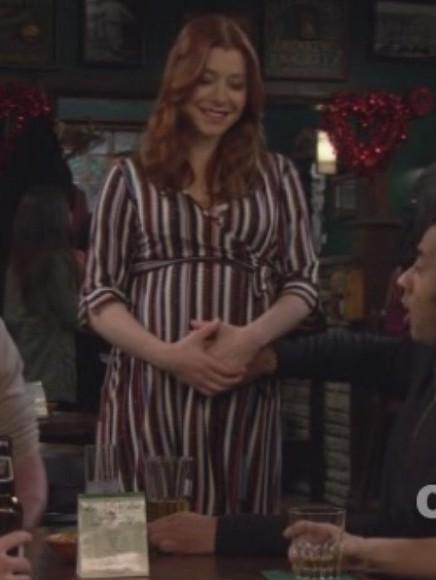 Lilys striped wrap maternity dress on HIMYM