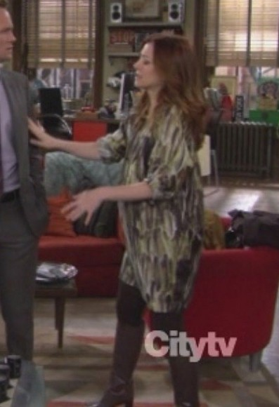 Lilys patterned dress with boots on HIMYM
