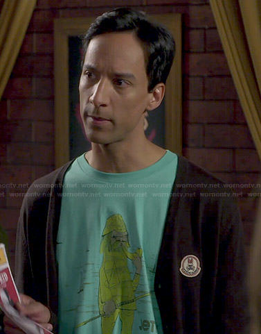 Abed's green Jetty graphic t-shirt on Community