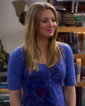 Penny's blue and purple flower shirt on The Big Bang Theory