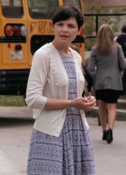 Mary's blue patterned dress and white cardigan on Once Upon a Time