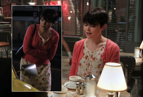 Marys floral dress and coral cardigan on Once Upon A Time