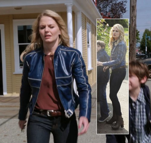 Emmas blue leather jacket and brown ankle boots