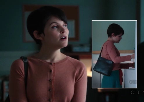 Mary's orange cardigan over teal blue skirt/dress on Once Upon a Time