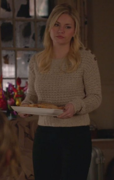 Alex's beige sweater with buttons on Happy Endings