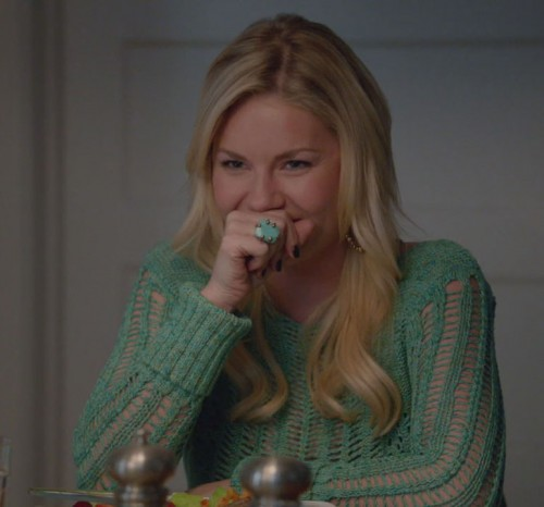 Alex's green crochet sweater and aqua ring on Happy Endings