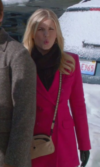 Alex's pink coat and cream crossbody bag on Happy Endings
