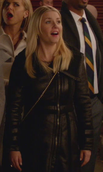 Alex's long black leather style jacket on Happy Endings