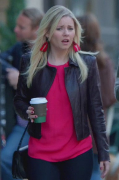 Alex's dark purple leather jacket on Happy Endings