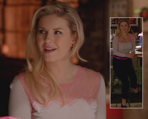 Alex's pink lace top on Happy Endings