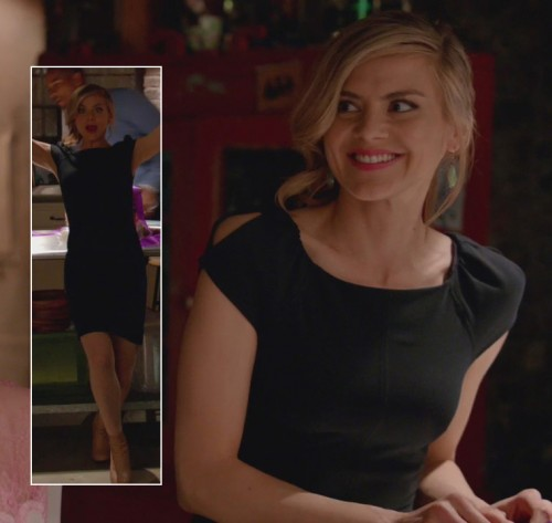 Jane's black cap sleeve dress on Happy Endings