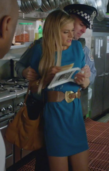 Jane's teal dress and tan belt on Happy Endings