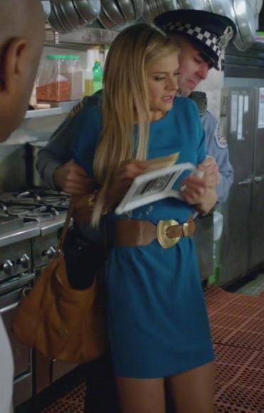 Jane's teal dress and tan belt on Happy Endings