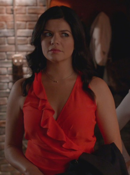 Penny's red/coral ruffle wrap top on Happy Endings