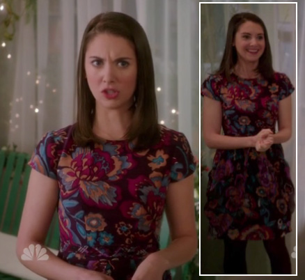 Annie's purple and pink floral print dress on Community