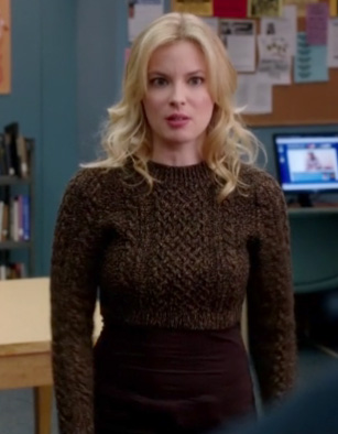 Britta's brown cropped knit sweater on Community
