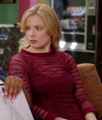 Britta's red loose knit top on Community