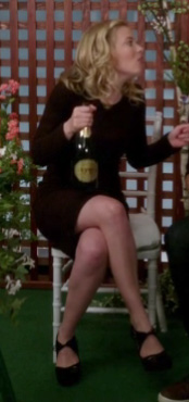 Britta's burgundy long sleeve dress and black shoes on Community