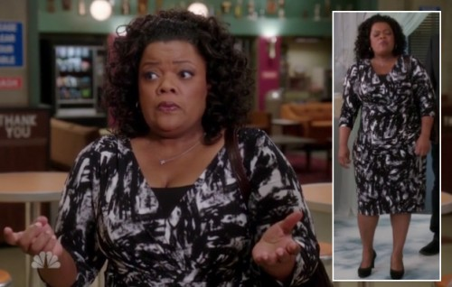 Shirley's black and white wrap dress on Community