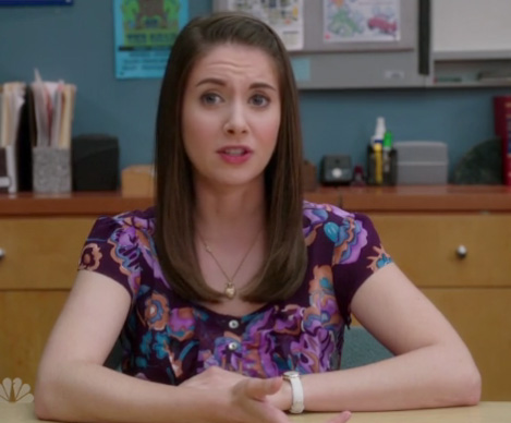Annie's purple floral top on Community