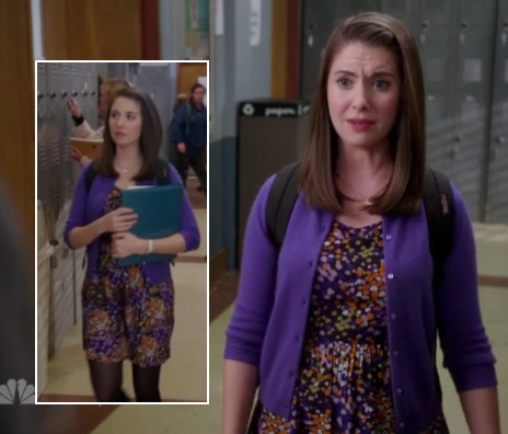 Annie's purple floral dress and cardigan on Community