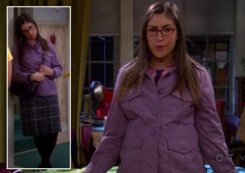 Amy's purple jacket and plaid skirt on The Big Bang Theory