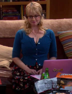 Bernadette's black floral dress with blue cardigan on The Big Bang Theory