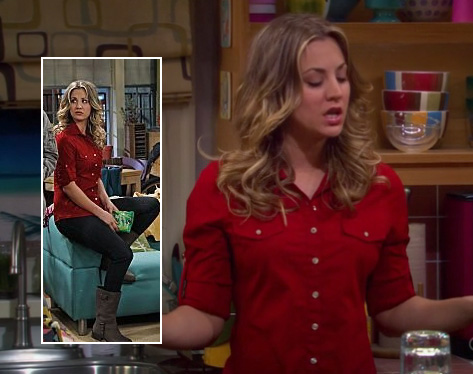 Penny's red button up shirt and brown boots on The Big Bang Theory