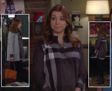 Lily's grey and black check shirt and tan hangbag on How I Met Your Mother
