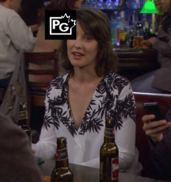 Robin's black and white leaf print blouse on How I Met Your Mother