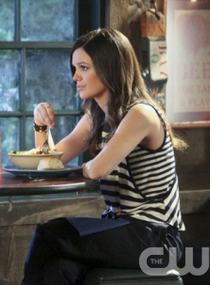 Zoe's black and white striped top on Hart of Dixie