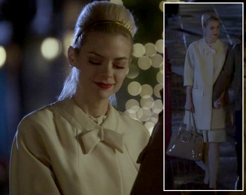 Lemon's cream coat and beige patent leather handbag on Hart of Dixie