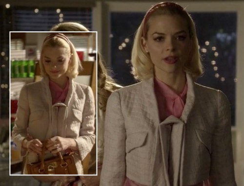 Lemon's cream quilted cropped jacket and pink headband on Hart of Dixie