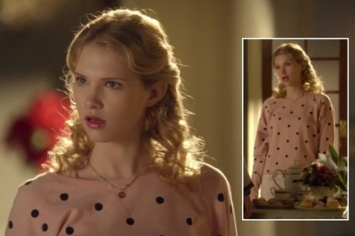 Magnolia's orange polka dot sweater on Hart of Dixie