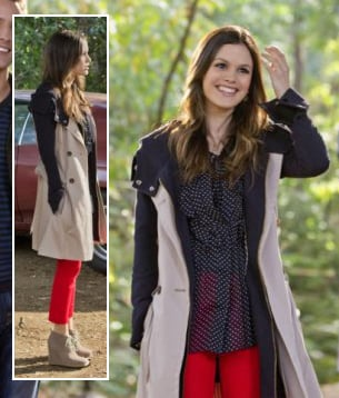 Zoe's contrast coat, red pants, ankle boot wedges and polka dot blouse on Hart of Dixie