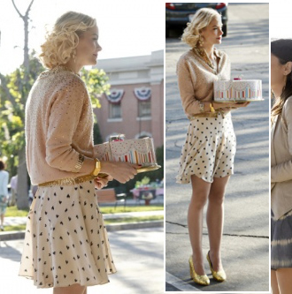 Lemon's heart print skirt and gold glittery shoes on Hart of Dixie