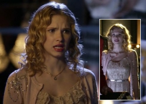 Magnolia's peach sequin embellished cardigan over a lace dress and metallic belt on Hart of Dixie