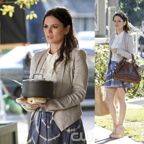 Zoe's blue tie-dye skirt with cream blazer and wedge ankle boots on Hart of Dixie