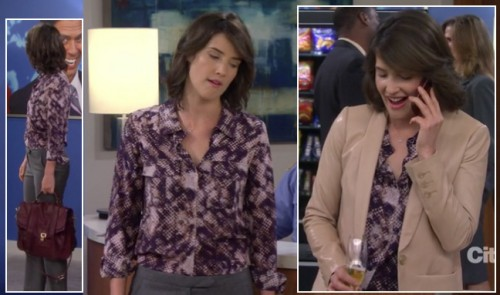 Robin's purple patterned blouse and red satchel handbag on How I Met Your Mother