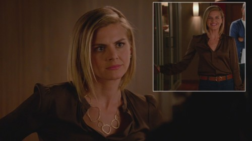Jane's brown silky blouse and gold link necklace on Happy Endings