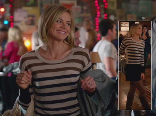 Jane's cream, navy and brown striped sweater on Happy Endings