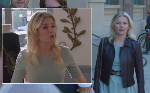 Alex's mint green dress with brown leather jacket on Happy Endings