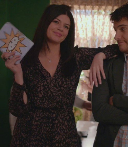 Penny's printed wrap dress on Happy Endings