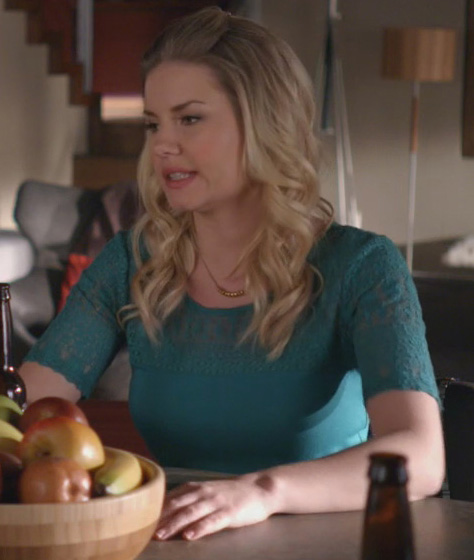 Alex's teal green lace top on Happy Endings