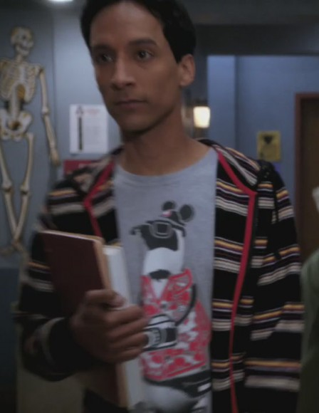 Abed's grey penguin with a camera shirt on Community
