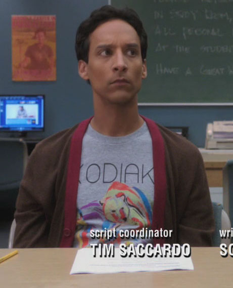 Abed's kodiak bear shirt on Community