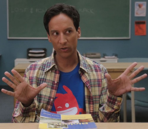 Abed's blue shirt with red character on it on Community