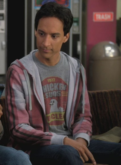 Abed's grey chicken suds shirt on Community