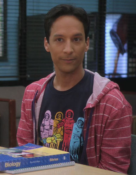 Abed's skeleton astronaut tshirt on Community