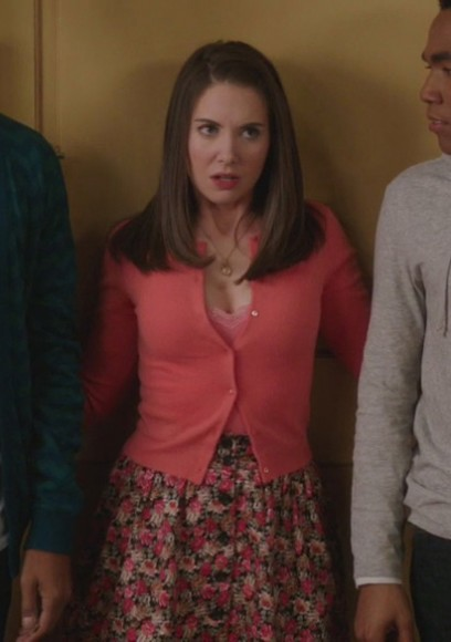 Annie's pink floral button up skirt and coral/pink cardigan on Community